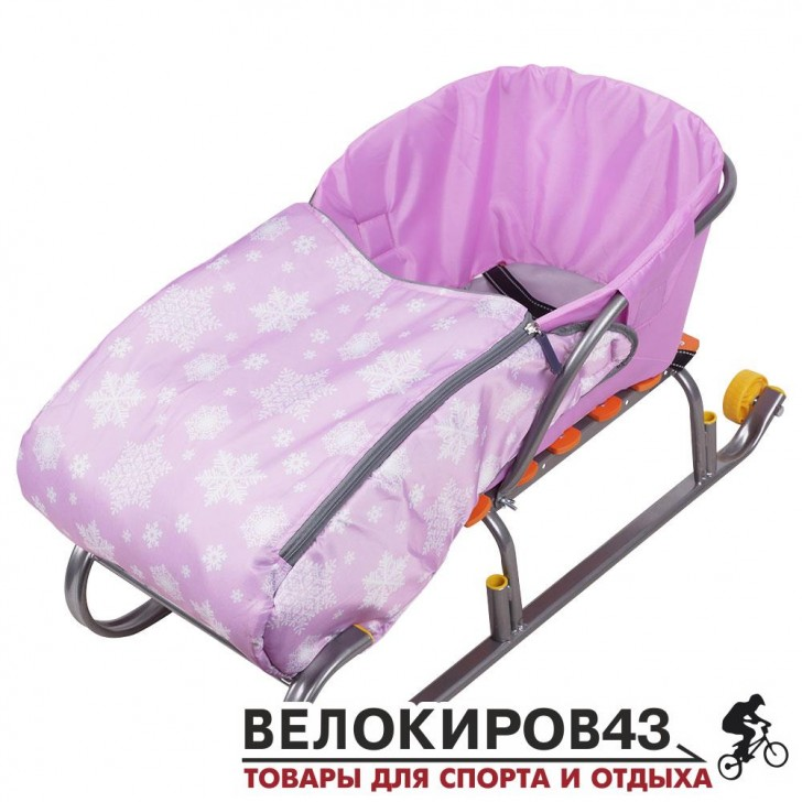 Сиденье для санок с чехлом для ног розовые (арт. СС3)