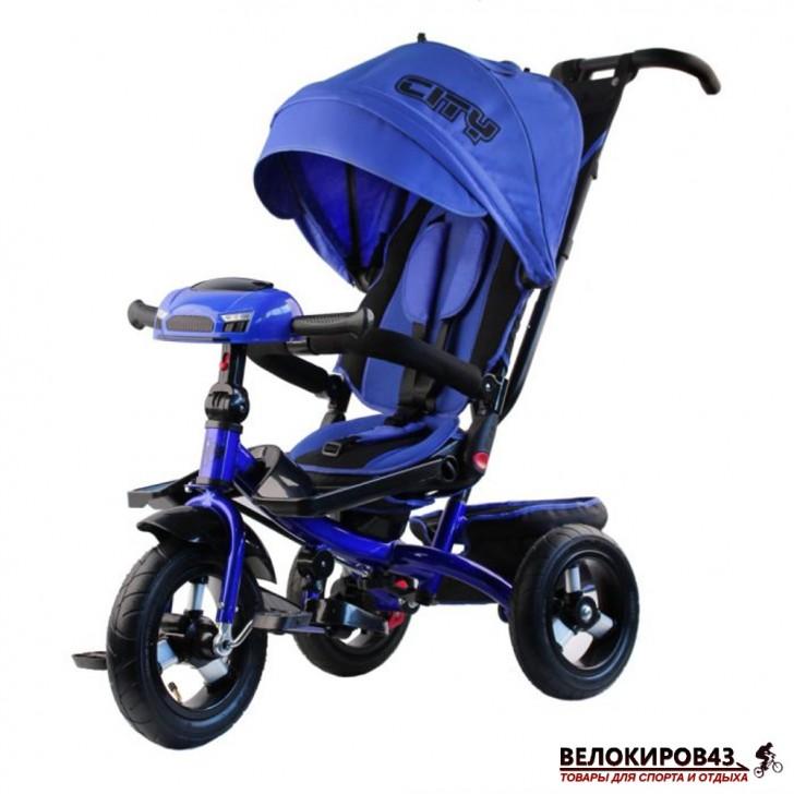 Трехколесный велосипед City H5 синий с надувными колесами 12/10