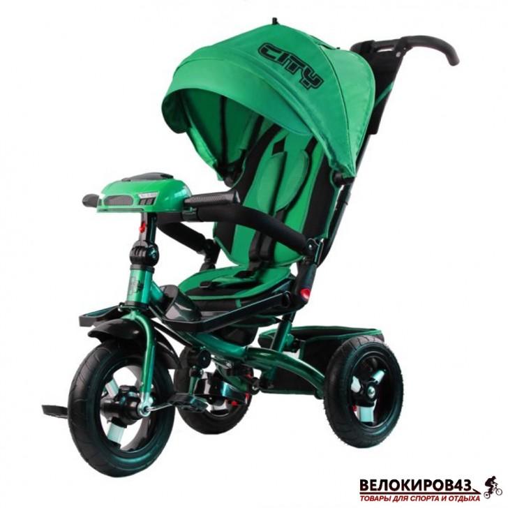 Трехколесный велосипед City H5 зеленый с надувными колесами 12/10