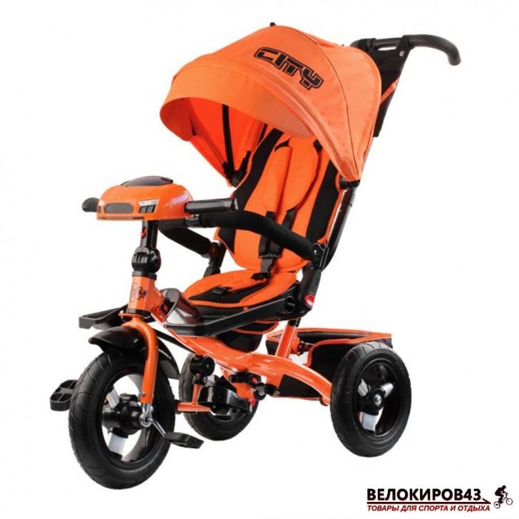 Трехколесный велосипед City H5 оранжевый с надувными колесами 12/10