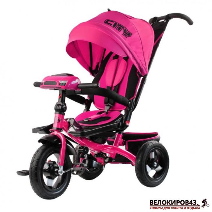 Трехколесный велосипед City H5 розовый с надувными колесами 12/10
