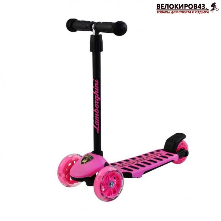 Самокат Трехколесный  LAMBORGHINI со светящимися колёсами розовый