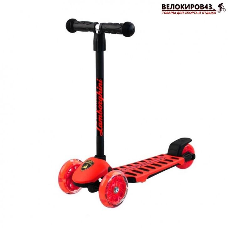 Самокат Трехколесный  LAMBORGHINI со светящимися колёсами красный