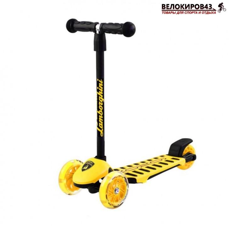 Самокат Трехколесный  LAMBORGHINI со светящимися колёсами жёлтый