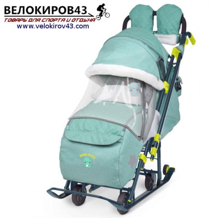 Санки-коляска Ника-Детям. Модель НД 7-3. Джинсовый стиль. Зеленый цвет