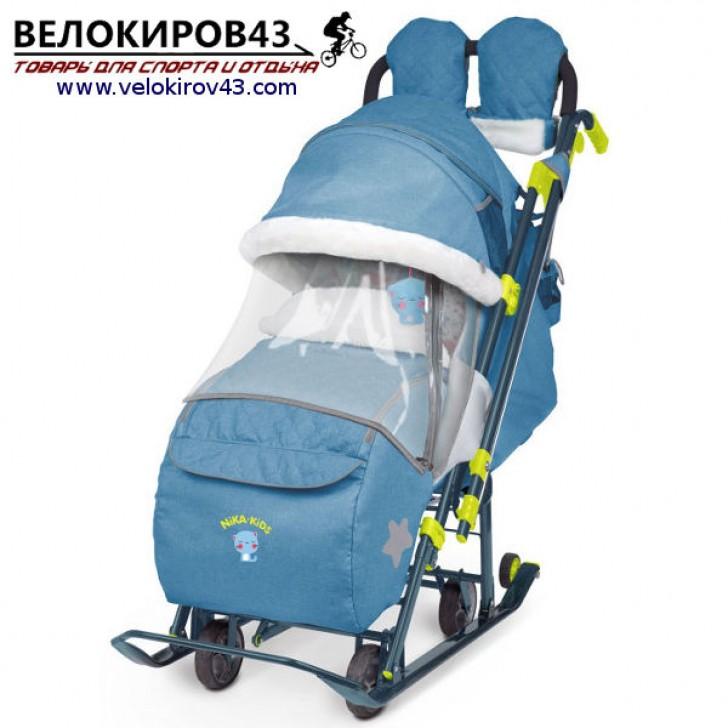 Санки-коляска Ника-Детям. Модель НД 7-3. Джинсовый стиль. Голубой цвет