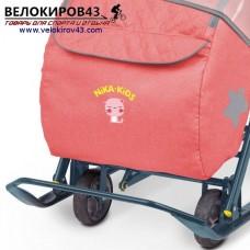 Санки-коляска Ника-Детям. Модель НД 7-3. Джинсовый стиль. Красный цвет