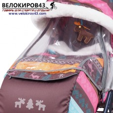 Санки-коляска Ника-Детям. Модель НД 7-3. Скандинавский стиль. Розовый цвет