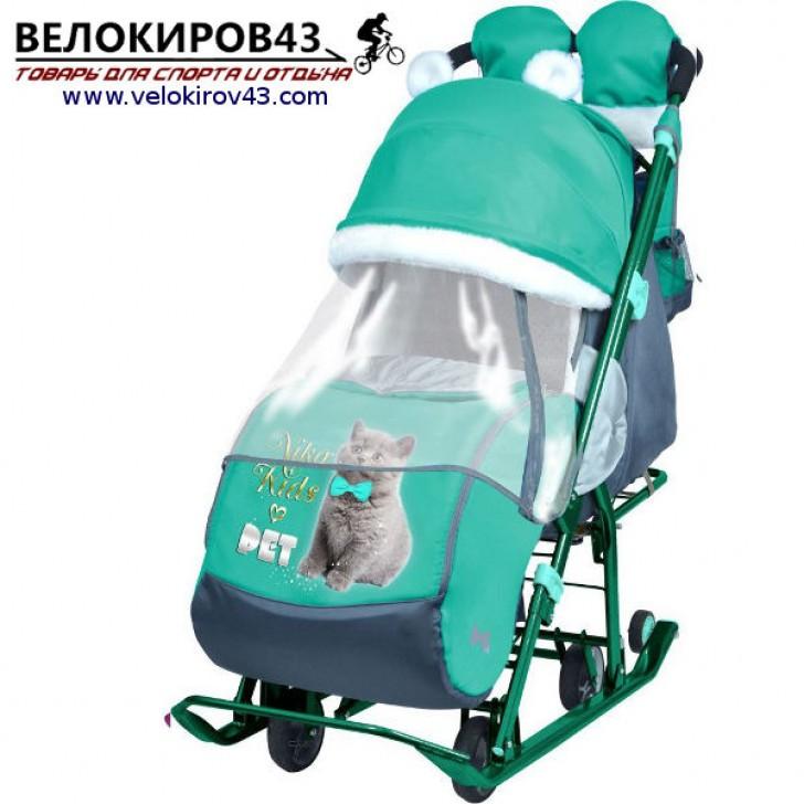 Санки-коляска Ника-Детям. Модель НД 7-2. Рисунок - Котенок. Изумрудный цвет