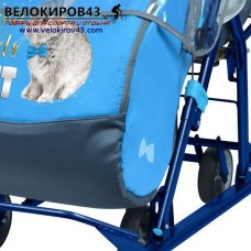 Санки-коляска Ника-Детям. Модель НД 7-2. Рисунок - Кролик. Васильковый цвет