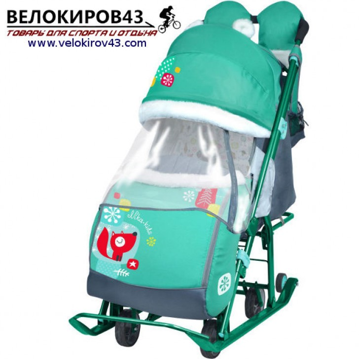 Санки-коляска Ника-Детям. Модель НД 7-2. Рисунок - Лисичка. Изумрудный цвет