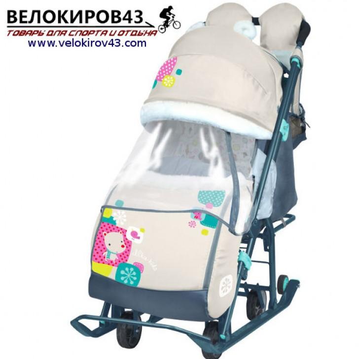 Санки-коляска Ника-Детям. Модель НД 7-2. Рисунок - Медвежонок. Бежевый цвет