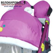 Санки-коляска Ника-Детям. Модель НД 7-2. Рисунок - Снеговик. Цвет орхидеи