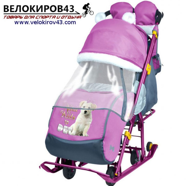 Санки-коляска Ника-Детям. Модель НД 7-2. Рисунок - Щенок. Цвет орхидеи