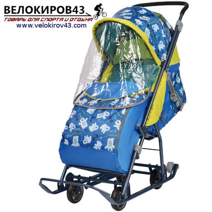 Санки-коляска Умка 3-1. Модель У 3-1. Со светоотражающими элементами. Рисунок - Мишки. Цвет - синий