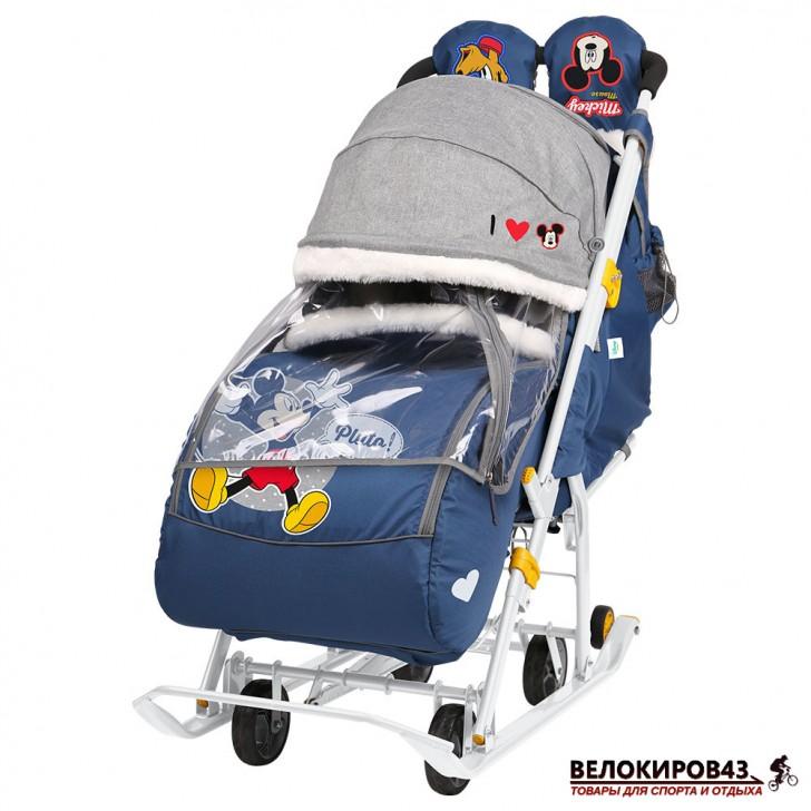 Санки-коляска «Ника детям » Модель «Disney baby 2» С Микки Маусом синий