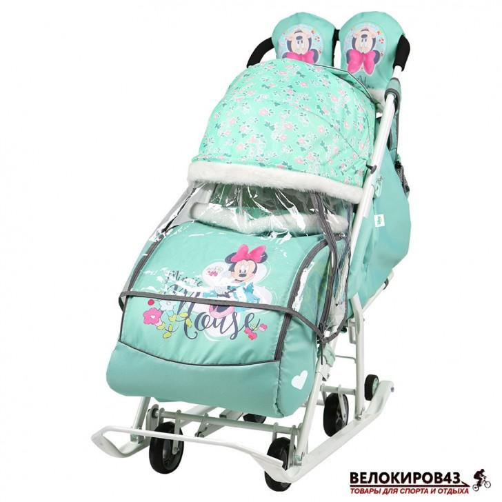 Санки-коляска «Ника детям» Модель «Disney baby 2» Минни Маус мятный
