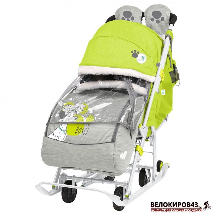 Санки-коляска «Ника детям » Модель «Disney baby 2» С Далматинцами лимонный