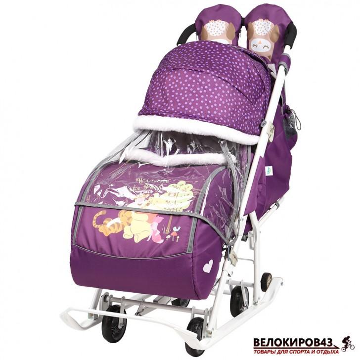 Санки-коляска «Ника детям» Модель «Disney baby 2» С Винни Пухом баклажановый