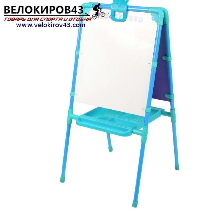 Мольберт детский М1. Цвет - голубой. Рисование маркером и магнитная поверхность