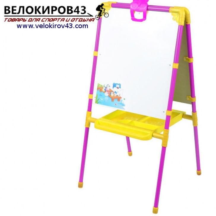 Мольберт детский М1. Цвет - сиреневый. Рисование маркером и магнитная поверхность