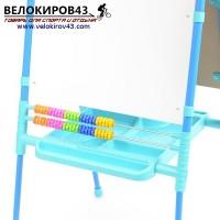 Мольберт детский двухсторонний М2. Цвет - голубой. Магнитный набор в комплекте