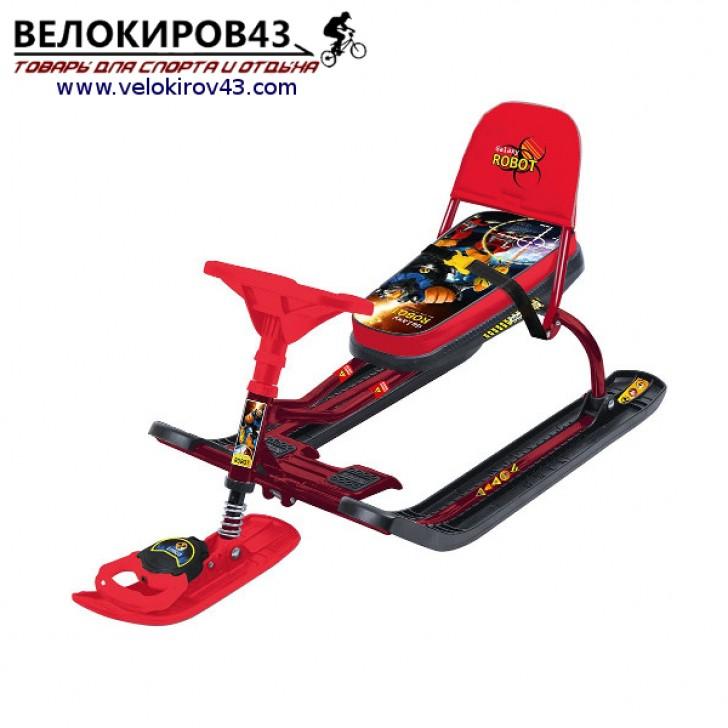 Снегокат «Тимка спорт 4-1» (ТС4-1). Расцветка с роботом - бордовый каркас