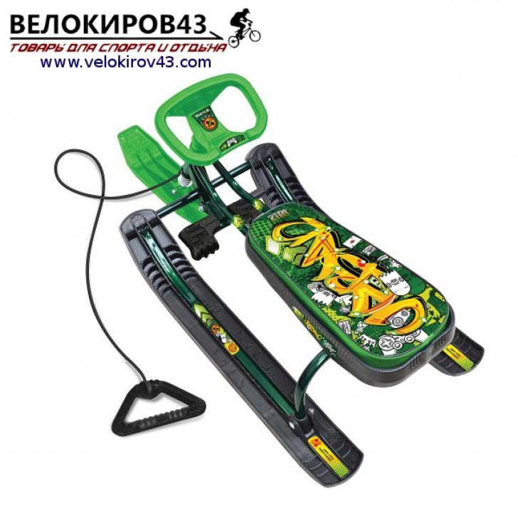 Снегокат «Тимка спорт 1» (ТС1). Расцветка граффити зеленая - каркас зеленого цвета (лак)