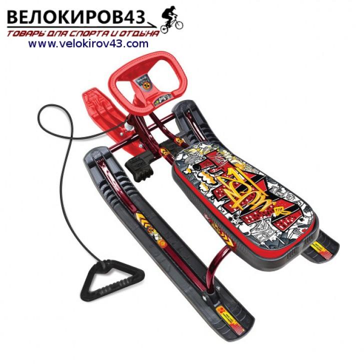Снегокат «Тимка спорт 1» (ТС1). Расцветка граффити красная - каркас красного цвета (лак)