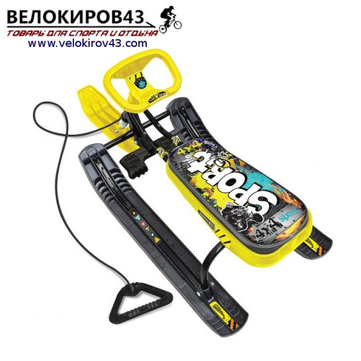 Снегокат «Тимка спорт 1» (ТС1). Расцветка граффити желтая - каркас черного цвета