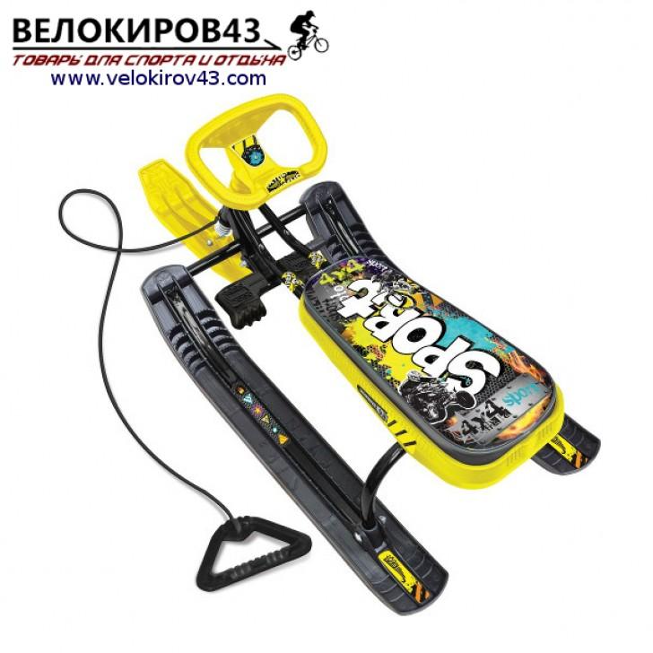 Снегокат «Тимка спорт 2» (ТС2). Расцветка граффити желтого цвета - каркас черного цвета