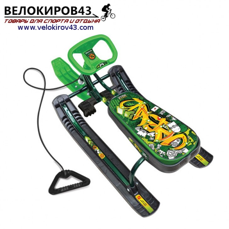 Снегокат «Тимка спорт 2» (ТС2). Расцветка граффити зеленого цвета - каркас цвет зеленый лак