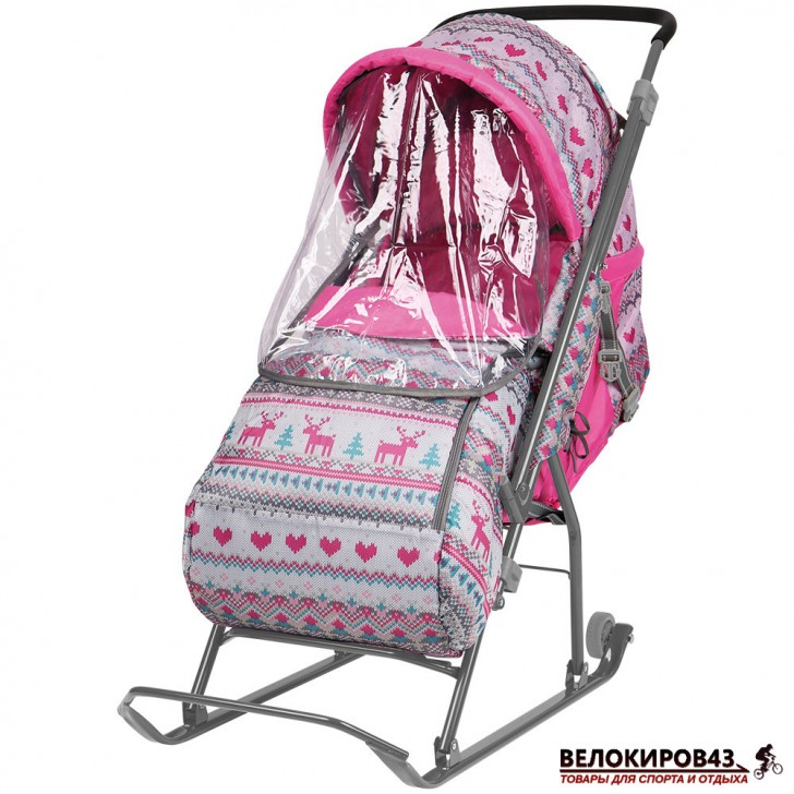 Санки-коляска  «Ника детям » Модель  «Умка 3» Розовые