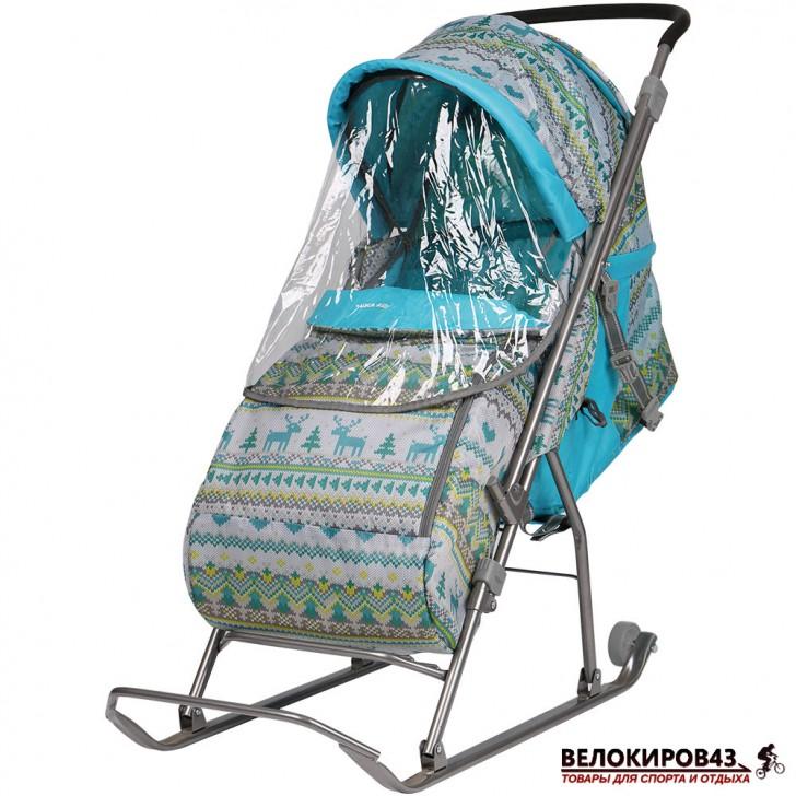 Санки-коляска  «Ника детям » Модель  «Умка 3» Бирюзовый