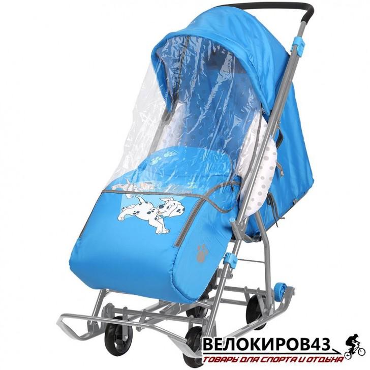 Санки-коляска  «Ника детям »  «Disney baby 1» С далматинцами  голубой