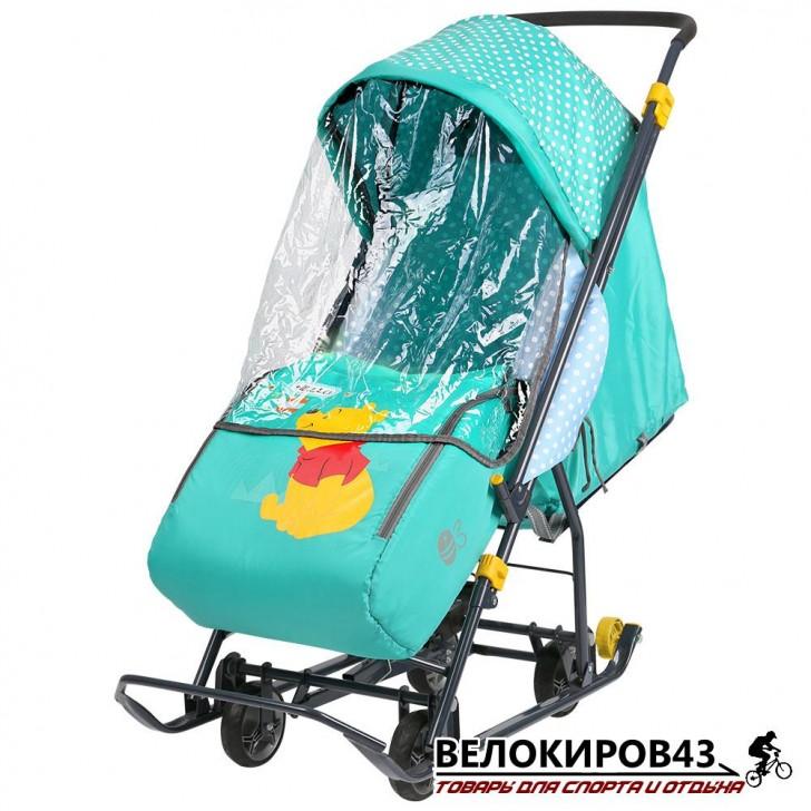 Санки-коляска  «Ника детям »  «Disney baby 1» (арт. DB1) С вини изумрудный