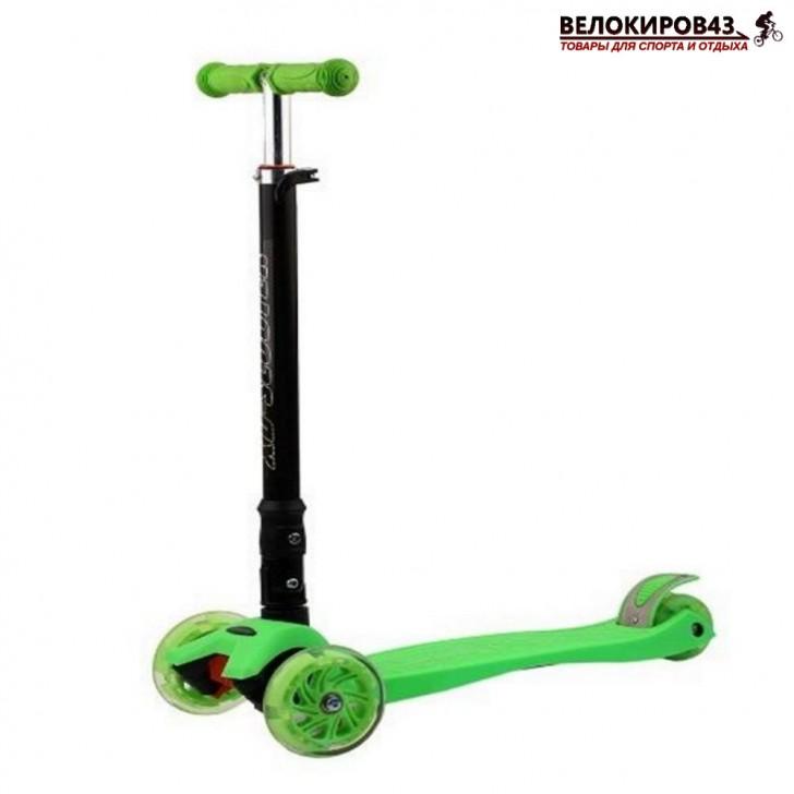 Трехколесный самокат XD-Scooter  XD5ALG зелёный  Складная ручка